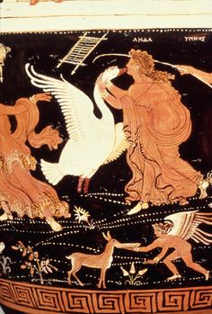 Leda and Zeus as Swan. Apulian Red Figure Ware, attributed to the Painter of Louvre. Late Classical Period