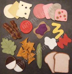 Felt Play Food Pattern - Deluxe Lunch Set PDF - DIY Felt Food. $6.99, via Etsy (sweetemmajean)