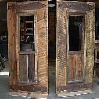 Barnwood Exterior Doors with Custom Cut Steel Hardware. Greater Yellowstone Furniture and Design's rustic barnwood .