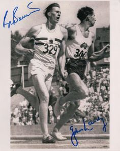 BANNISTER & LANDY: BANNISTER ROGER (1929-   ) English Athlete who ran the first sub-four-minute mile & LANDY JOHN (1930-  ) Australian Athlete. Signed 8 x 10 photograph, the image depicting Bannister in a full length action pose running around a race track beside fellow athlete John Landy. Signed by Bannister in bold blue ink with his name alone to a clear area at the head of the image, also signed by Landy in bold blue ink with his name alone to a clear area at the base of the image.