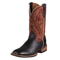 Ariat Quickdraw - A true horseman's boot, the Quickdraw is a classic that performs in the toughest conditions. The uppers are premium full-grain leather with a handsome eight-row stitch pattern. Tough, flexible Duratread™ rubber outsoles resist elements and barnyard acids. ATS™ technology keeps feet riding securely and comfortably all day long. $209.95
