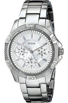 GUESS STEEL W0235L1,Women's Dynamic,Stainless Steel,Multifunction,Mid-Size Sport,50m WR * Find out more about the great product at the image link.