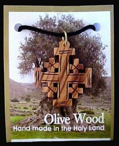 """Olive Wood Jerusalem Cross Necklace Pendant Made in Bethlehem Women's Men's Spiritual Religious Holly Land Jewelry Virtual Store Pendants and Necklaces. $29.99. Hangs on black lace cord. Size: 1.6"""" x 1.45"""" (4cm x 3.5cm). Olive Wood Jerusalem Cross Necklace. Made in Bethlehem"""