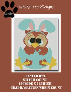 Easter Owl Crochet Graph Pattern WITH by DelGuzzoDesignStudio