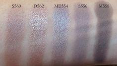 MUFE eyeshadows S560, D562, ME554, S556, M 558