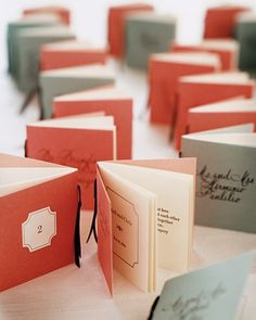 From the OffBeat Bride, little mini-books as place cards.     http://offbeatbride.com/2012/04/bookish-wedding-montage