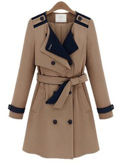 Cheap Belt Design Double Breasted Khaki and Black Coats