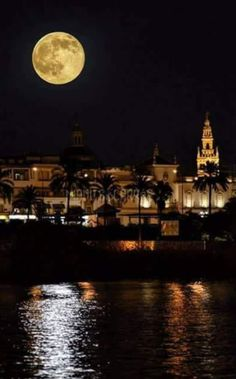 Spain, Moon, Celestial, Outdoor, Sevilla, Pretty Images, Legends, Night, Cities