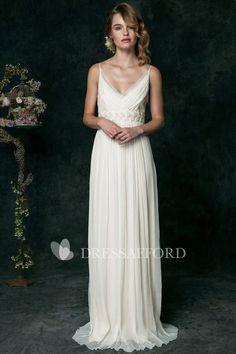 vintage Spaghetti Pleated Empire Wedding Dress With embellished Waist