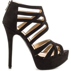 JustFab Women's Lilias - Black ($55) ❤ liked on Polyvore featuring shoes, heels, sapatos, zapatos, black, zipper shoes, black stilettos, black heel shoes, heels stilettos and black strappy stilettos