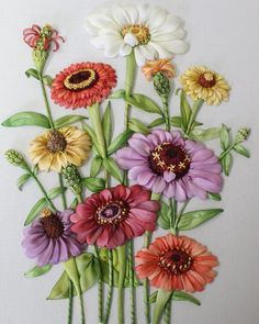 Silk ribbon embroidery zinnias by Stephanie Williams