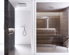 There is a distinct luxury in simplicity. This Luxembourg house from architect Katarzyna Kuo Stolarska takes this idea to the extreme. With a simple grayscale c Master Bathroom Tub, Bathroom Tub Shower, Bathroom Trends, Bathroom Interior, Bathroom Designs, Bathroom Ideas, Modern Interior Design, Luxury Interior, Luxembourg