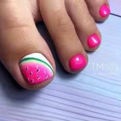 50 Cool Tropical Nails Designs For Summer Tropical Toe Nail Designs With Jucy Watermelon Tropical nails are the best design for summertime madness since summer is the time of sun bea Simple Toe Nails, Pretty Toe Nails, Cute Toe Nails, Summer Toe Nails, Diy Nails, Summer Pedicures, Toe Nail Designs Simple, Cute Toenail Designs, Beach Toe Nails