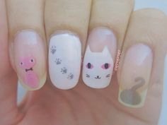 Sneaky Kitty Water Decal Nail Art | chichicho~ nail art addicts