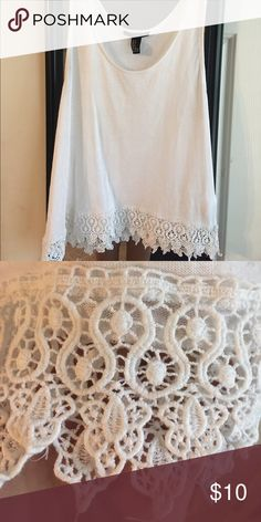 White tank top with lace bottom Tank top is semi sheer Forever 21 Tops Tank Tops