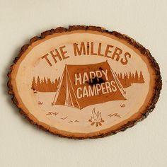 Pine Wood Log Sign - Happy Campers
