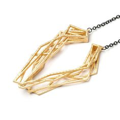 RADIAN | Solitaire necklace, 3d printed stainless steel, gold plated #radianjewelry