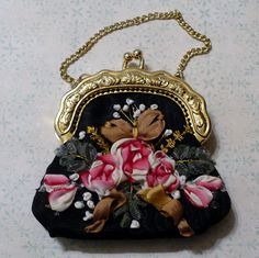 Vintage Small Coin Purse or Doll Purse, Decorated with French Ribbon Work..  via Etsy.