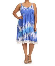 Loving this Royal Blue Tie-Dye Lace Midi Dress - Plus on #zulily! #zulilyfinds