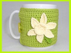 Apple green crochet mug cozy
