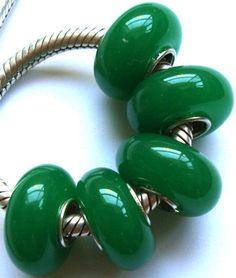 Plain green glass bead Charm for lampwork large hole silver trollbead Biagi European style bracelets