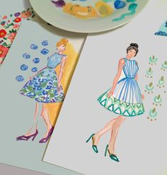 bridesmaids in an ocean blue palette.....