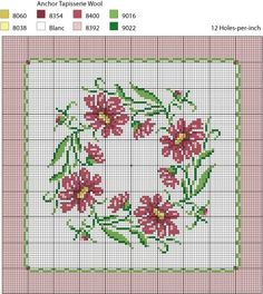 miniature needlework chart for square rug