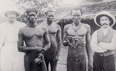 Congolese men pose with the severed hands of others who failed to meet their rubber quotas, made into examples by the Anglo-Belgian India Rubber company in the Congo Free State, a former colony of Belgium.