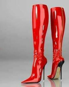 Incredible red patent boots!