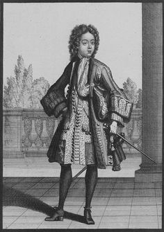 Duc du Maine, 1695. Note he is wearing a shorter version of the periwig, and only the outermost buttons of the pocket flaps are buttoned. French