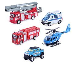 Set of 5 Rescue Diecast Police Firetruck Pullback Vehicles Playset 164 Scale ** You can get more details by clicking on the image.Note:It is affiliate link to Amazon.