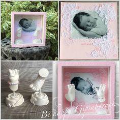 Handabdruck & Fußabdruck Baby im rosa Design mit weiße Spitze, Ivana Irmscher Be happy Gipsabdruck Fürth, www.be-happy-gipsabdruck.de