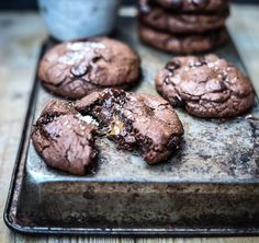 Salted Caramel- and Nutella-Stuffed Double Chocolate Chip Cookies