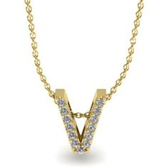 "Adoriana 1/8 CT TW Diamond 14K Gold Initial ""V"" Block-Style Pendant Necklace"