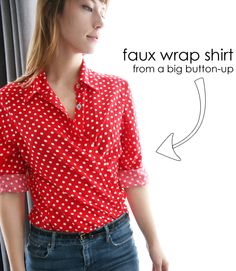 Faux Wrap Shirt something about Polka dots..  especially red and white... Love this