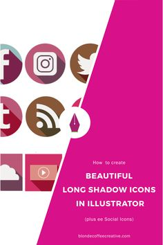 Want to learn more about Adobe Illustrator and create cool social media icons for your website? Then this tutorial s for you. I show you some basic tricks to get you started. Click through to get started. create-beautiful-long-shadow-icons-in-illustrator-01