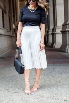 What to Wear to Work | Pleated White Skirt + Black Crop Top
