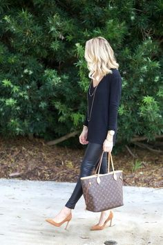 Simple chic all black, leather leggings and pop of camel -- of course the louis bag doesn't hurt ;)