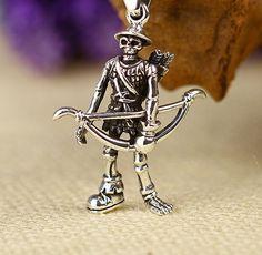 925 Sterling Silver Skull Skeleton Warrior Charm Pendant by SterlingSilverBox