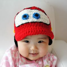 Lightning McQueen hat, Cars hat, Crochet Baby Hat, Baby Hat, Red, photo prop, Inspired by Cars, NASCAR. $24.99, via Etsy.
