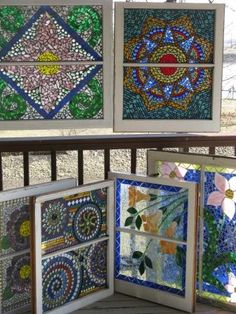 Mosaic Windows      Mosaic windows- antique and recycled old wood windows get new life with stained glass and tesserae.