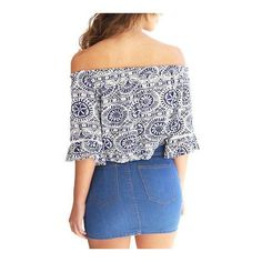 Yoins Floral Print Off The Shoulder Crop Top ($10) ❤ liked on Polyvore featuring tops, floral print crop top, summer tops, bell sleeve crop top, floral crop top and crop top