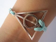 Antiqued Silver Deathly Hallows Bracelet / Mint by WearingPretty, $2.99