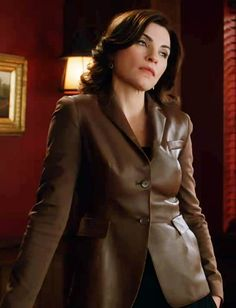"Alicia's Akris Brown Jersey-sleeve Leather Jacket The Good Wife Season 4, Episode 11: ""Boom De Ya Da"""