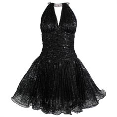 1980s Vicky Tiel Couture Black Lace Party Dress with Rhinestone Collar | From a collection of rare vintage evening dresses at http://www.1stdibs.com/fashion/clothing/evening-dresses/