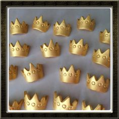 This listing is for 24 fondant crowns. Enough to decorate 2 dozen cupcakes  **Size Shown in photo on top standard size cupcake. Create adorable princess or little prince cupcakes with these yummy fondant crown cupcake toppers. These can be made in different colors They are lightly dusted with edible pearl dust for a slight shimmer. They are 100% edible made with satin ice fondant made to order. Please allow 1-3 days for production time prior to shipping. I ship priority therefore you should…