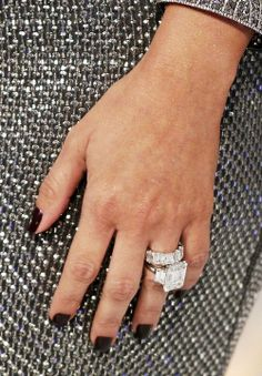 Engagement ring that Kris Humphries gave Kim Kardashian. Love the big diamond band with her amazing custom Lorraine Schwartz engagement ring which boasts a center diamond and two side diamonds. Kim Kardashian Engagement Ring, Celebrity Engagement Rings, Beautiful Engagement Rings, Vintage Engagement Rings, Beautiful Rings, Kim Kardashian Nails, Solitaire Engagement, Wedding Rings For Women, Wedding Bands