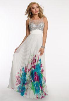 Border Print Pleated Dress with Illusion Neckline  – Camillelavie.com