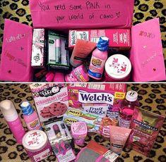 Diy Geschenk Basteln – Pink gift box – Diy Gifts For Friends Cute Birthday Gift, Birthday Gifts For Best Friend, Diy Birthday, Best Friend Gifts, Romantic Birthday, Birthday Ideas, Themed Gift Baskets, Birthday Gift Baskets, Raffle Baskets