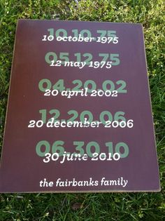 16x20 HAND PAINTED important dates sign by WrightAwayDesigns, $49.00